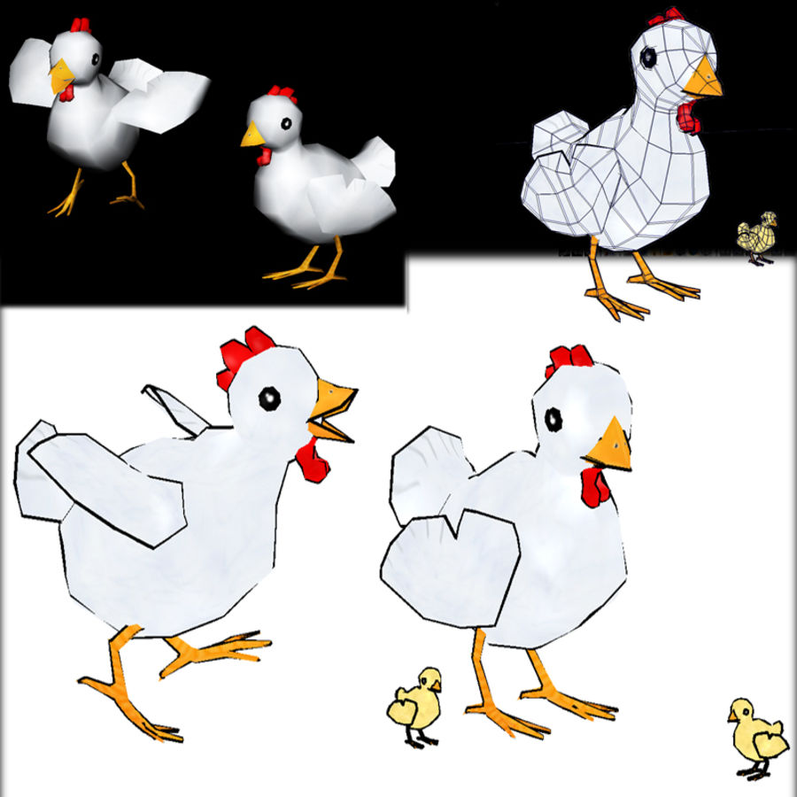 Poulet LowPoly royalty-free 3d model - Preview no. 1