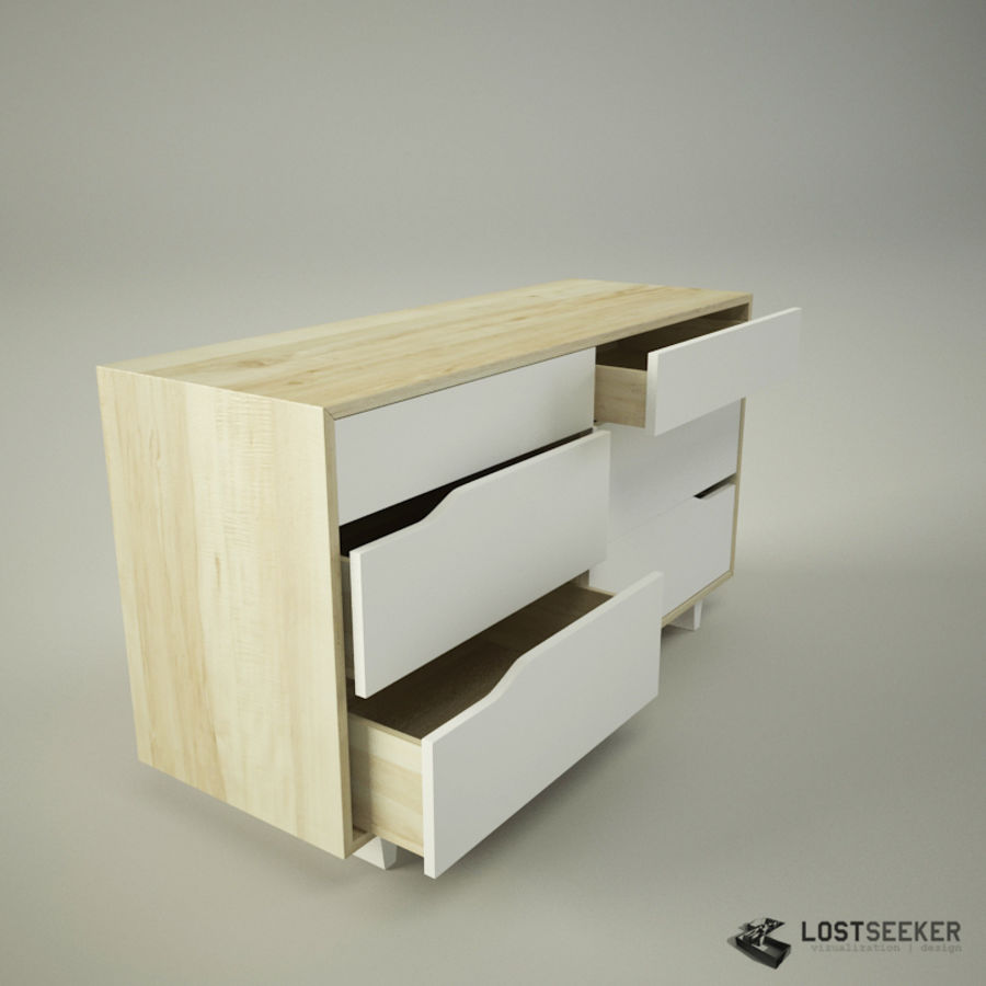 IKEA Mandal Chest of 6 drawers royalty-free 3d model - Preview no. 3