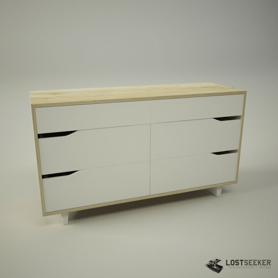 IKEA Mandal Chest of 6 drawers royalty-free 3d model - Preview no. 1