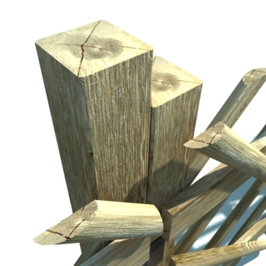 Drewniany płot rolniczy royalty-free 3d model - Preview no. 2