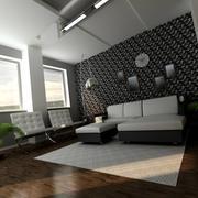 Living room at night 3d model