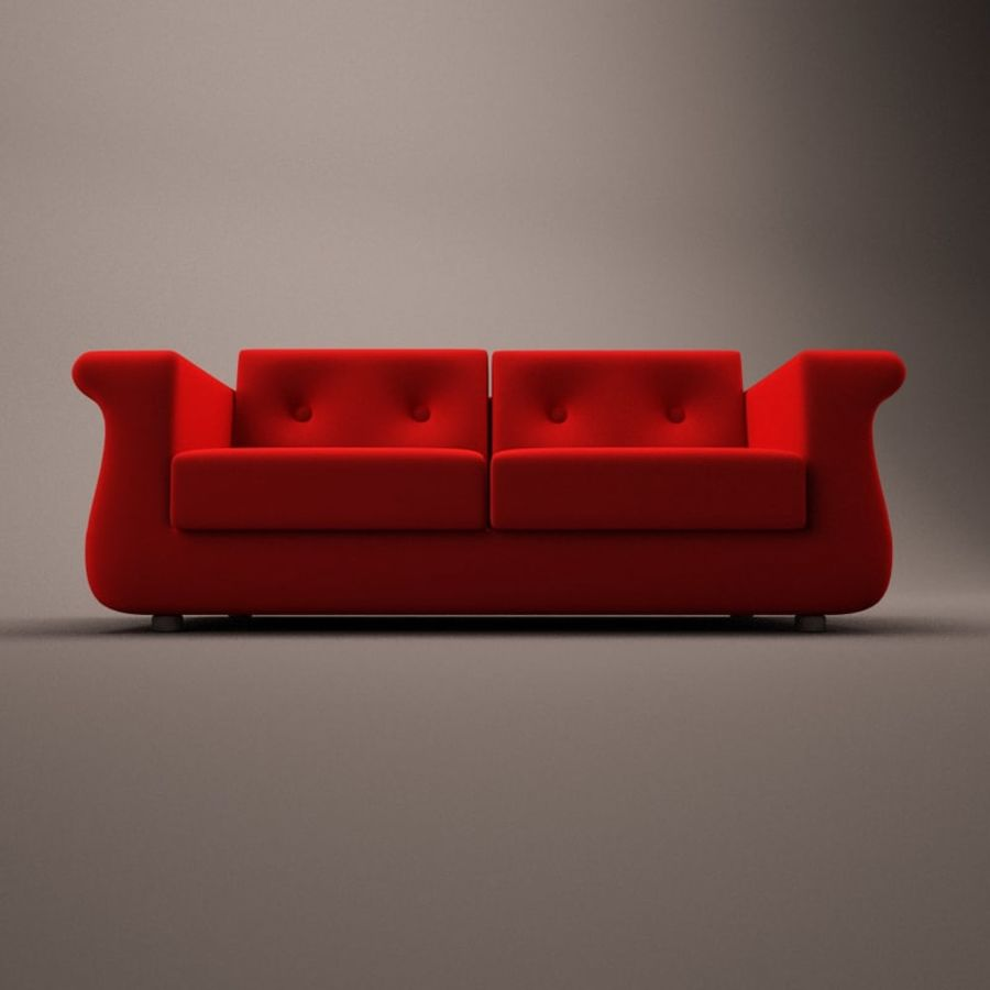2 sits soffa royalty-free 3d model - Preview no. 5