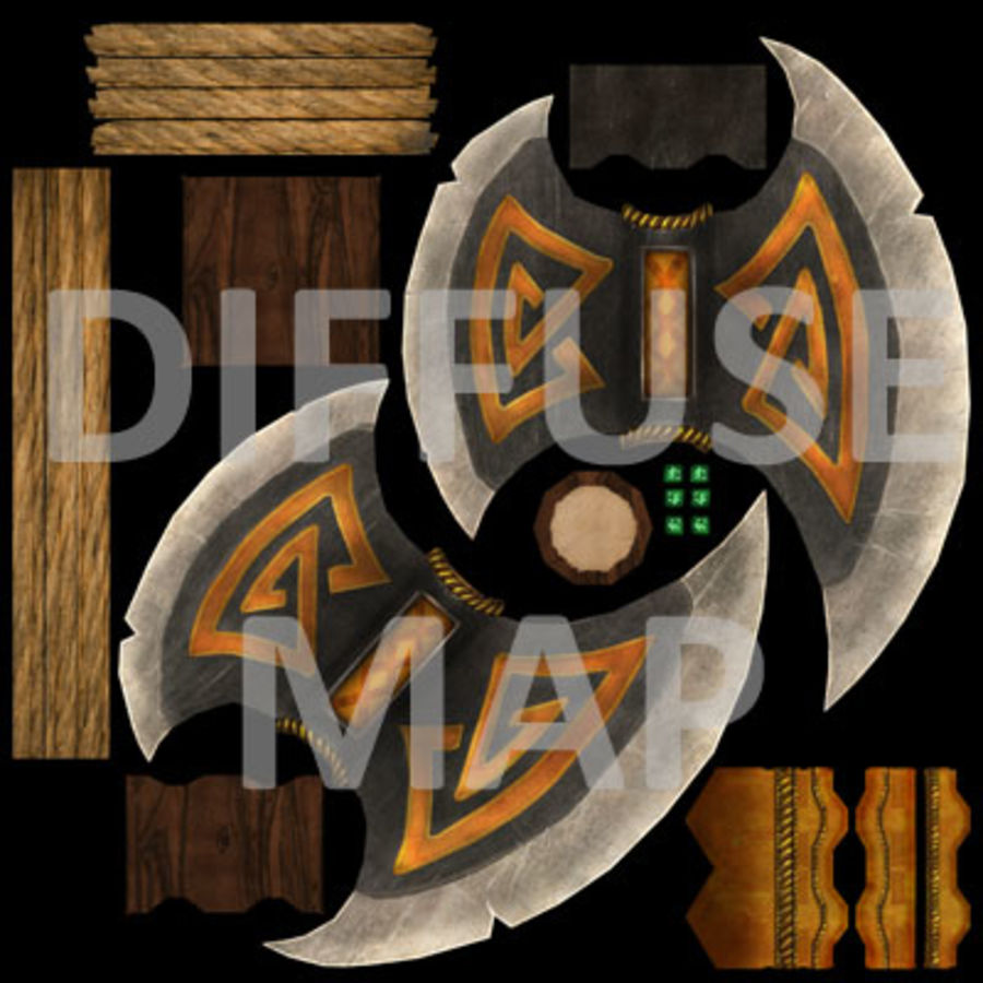 Battle Axe (Short Handle) royalty-free 3d model - Preview no. 6