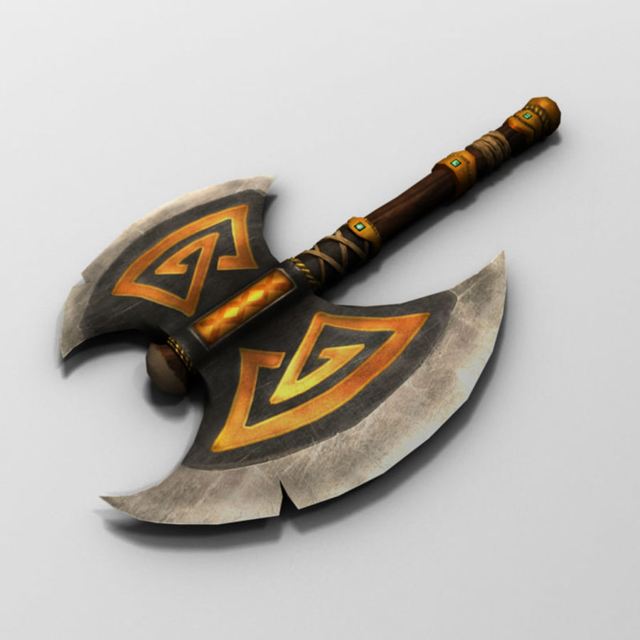 Battle Axe (Short Handle) royalty-free 3d model - Preview no. 2
