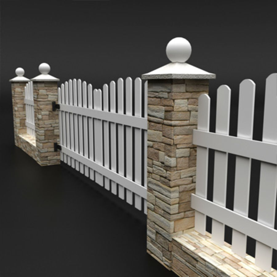 Stone fence 3d model 15 oth obj max c4d 3ds free3d for 3d fence