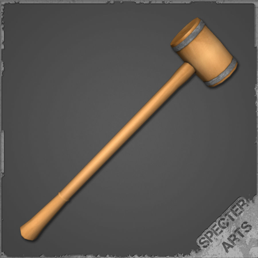 Wooden Mallet royalty-free 3d model - Preview no. 5