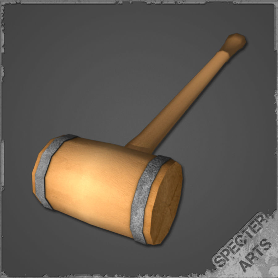 Wooden Mallet royalty-free 3d model - Preview no. 4