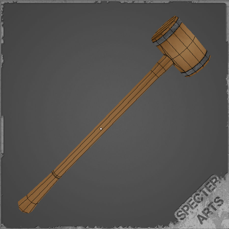Wooden Mallet royalty-free 3d model - Preview no. 6