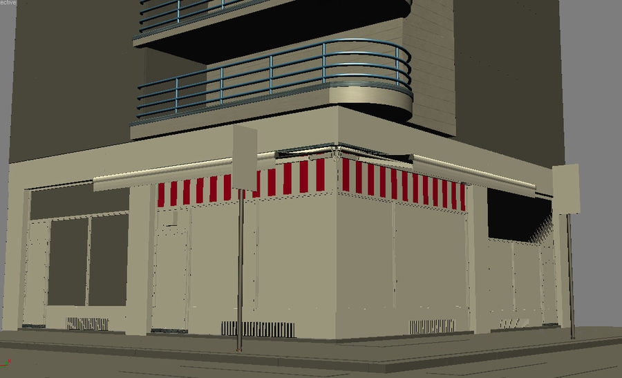 City corner royalty-free 3d model - Preview no. 10