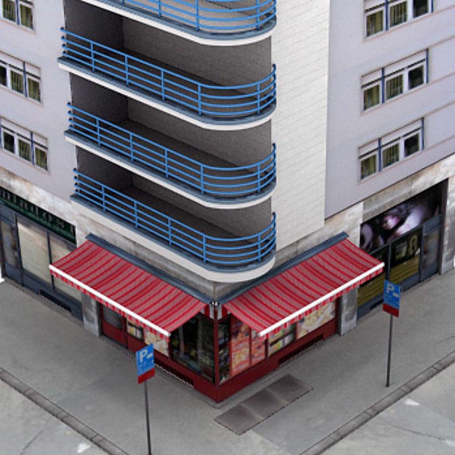 City corner royalty-free 3d model - Preview no. 7