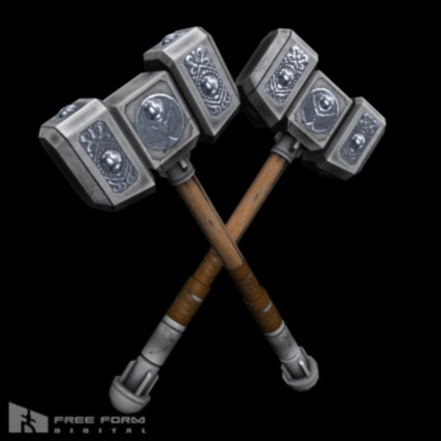 War Hammer royalty-free 3d model - Preview no. 3