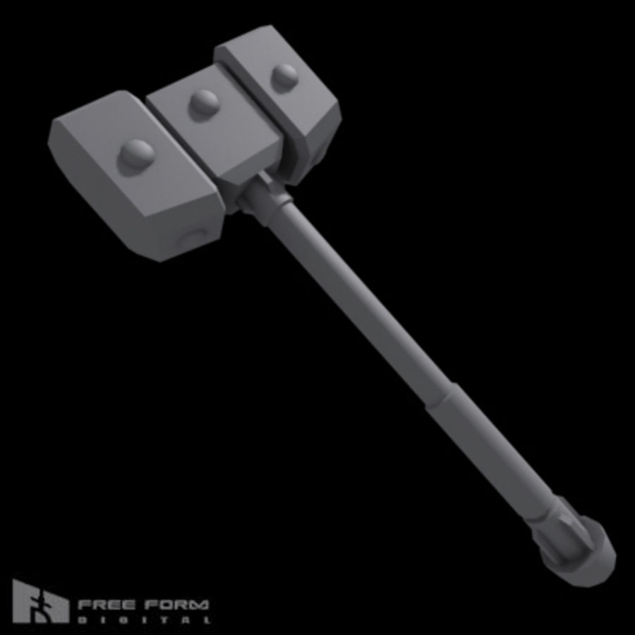 War Hammer royalty-free 3d model - Preview no. 6