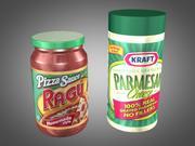 Fromage parmesan et sauce à pizza 3d model