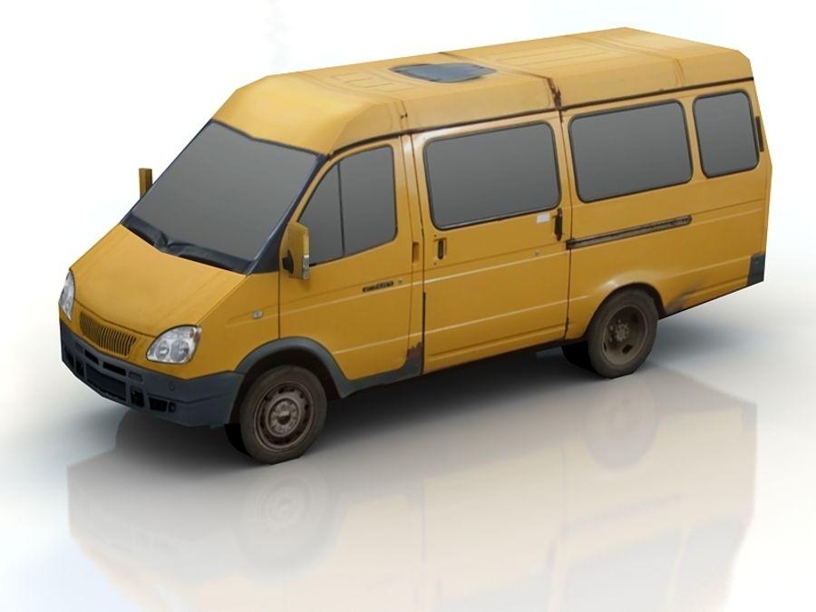 gazel bus lowpoly royalty-free 3d model - Preview no. 2