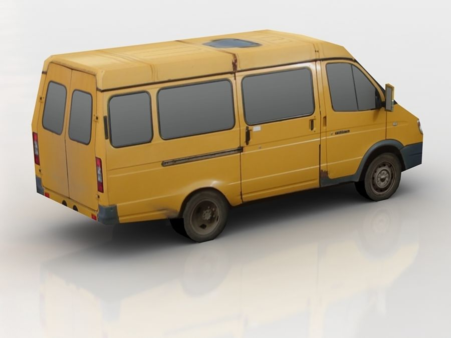 gazel bus lowpoly royalty-free 3d model - Preview no. 4