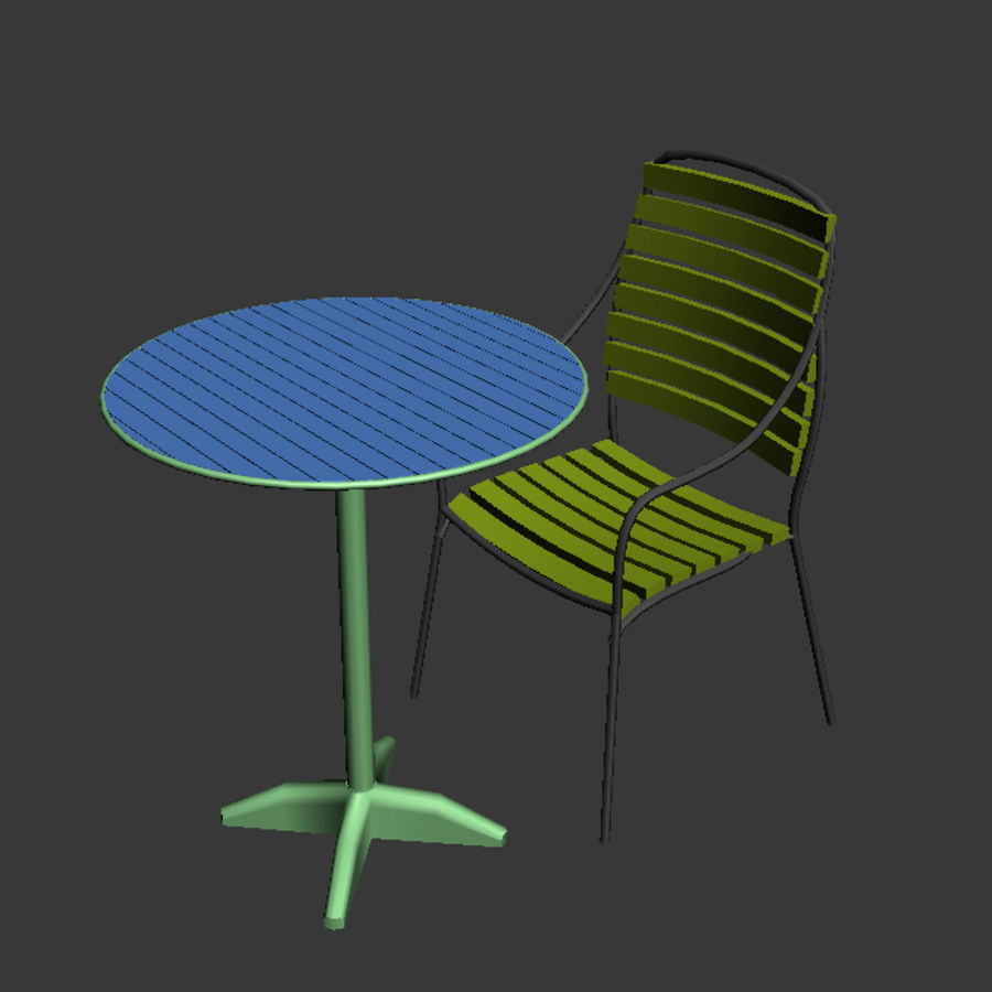 table and chair 02 royalty-free 3d model - Preview no. 2
