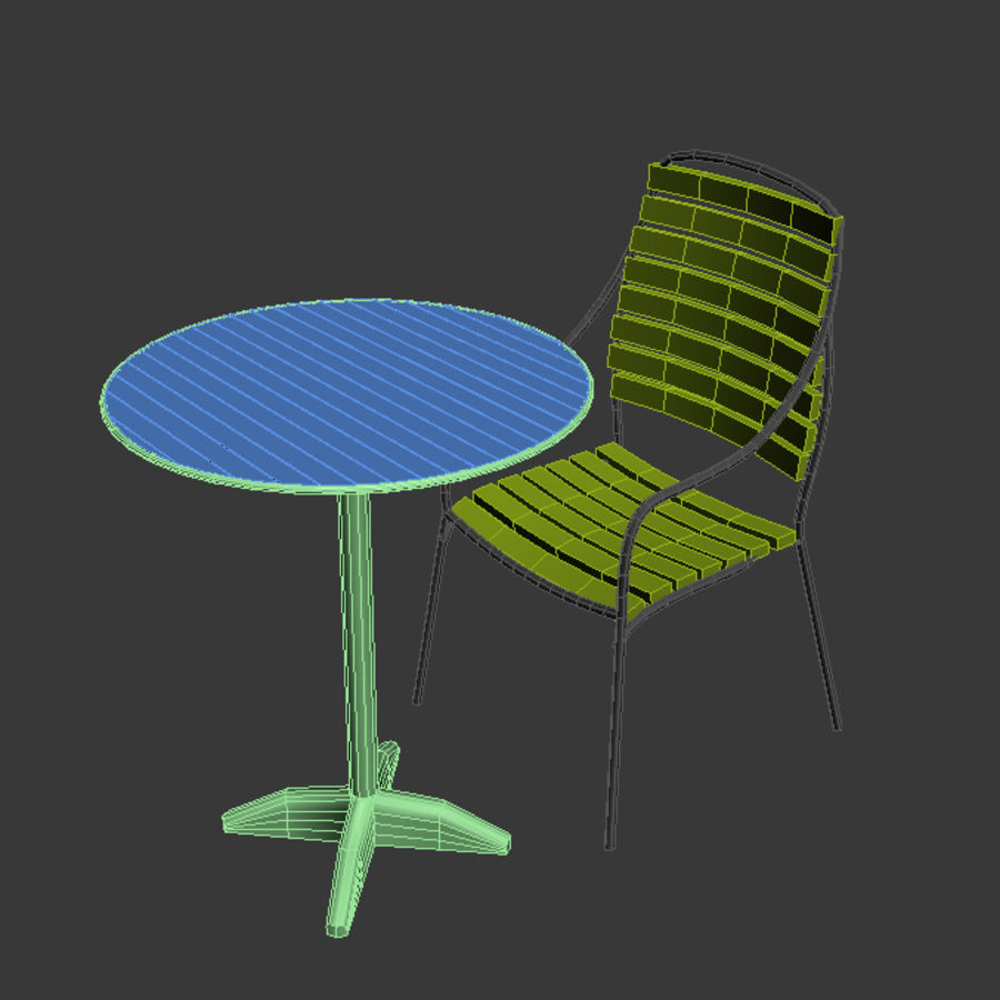 table and chair 02 royalty-free 3d model - Preview no. 1