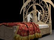 Fantasy bed - Rivendell Elf bed 3d model