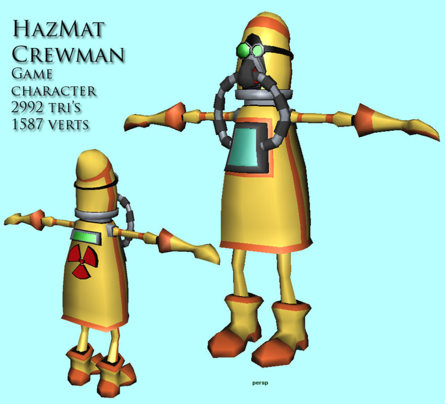 HazMat Crewman royalty-free 3d model - Preview no. 2
