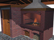 Outdoor Barbecue and Storage. 3d model