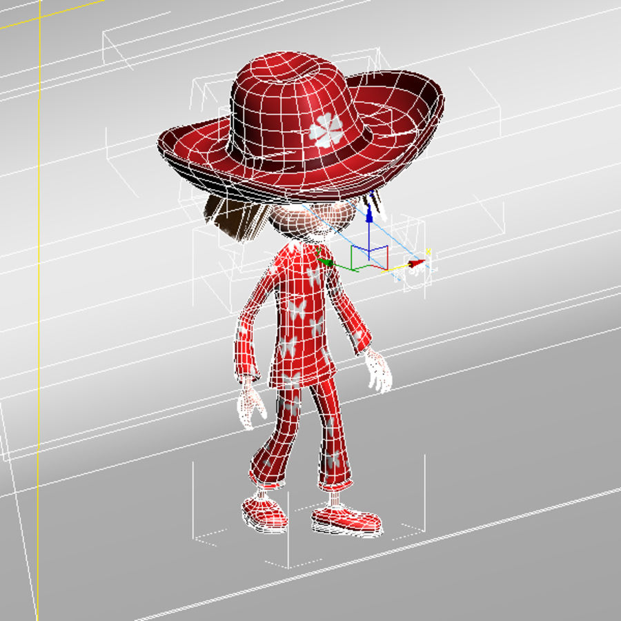 Cartoon cute girl(1) royalty-free 3d model - Preview no. 7
