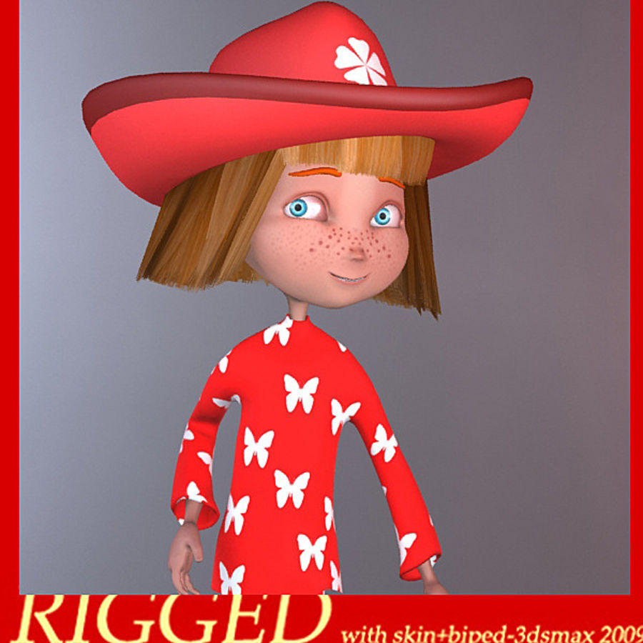 Cartoon cute girl(1) royalty-free 3d model - Preview no. 13