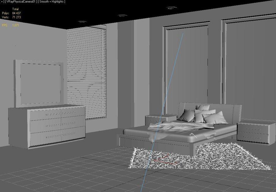 Modern Bedroom Interior Scene (Vray) 3D Model $20 -  dwg