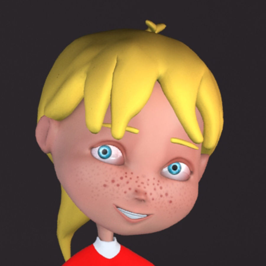 Cartoon girl lydia royalty-free 3d model - Preview no. 3