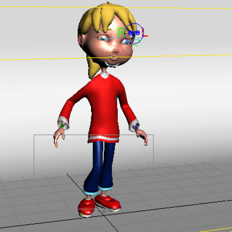 Cartoon girl lydia royalty-free 3d model - Preview no. 12