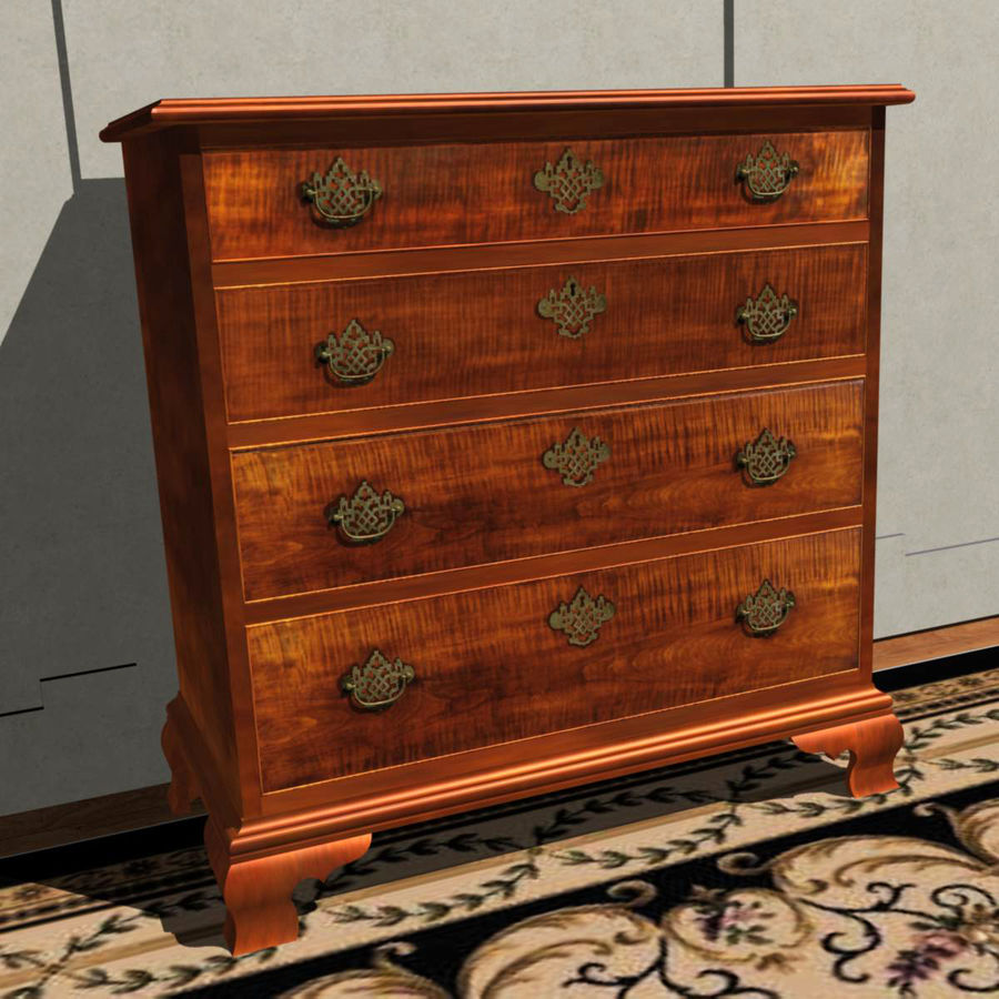 Tiger Maple Chest royalty-free 3d model - Preview no. 2