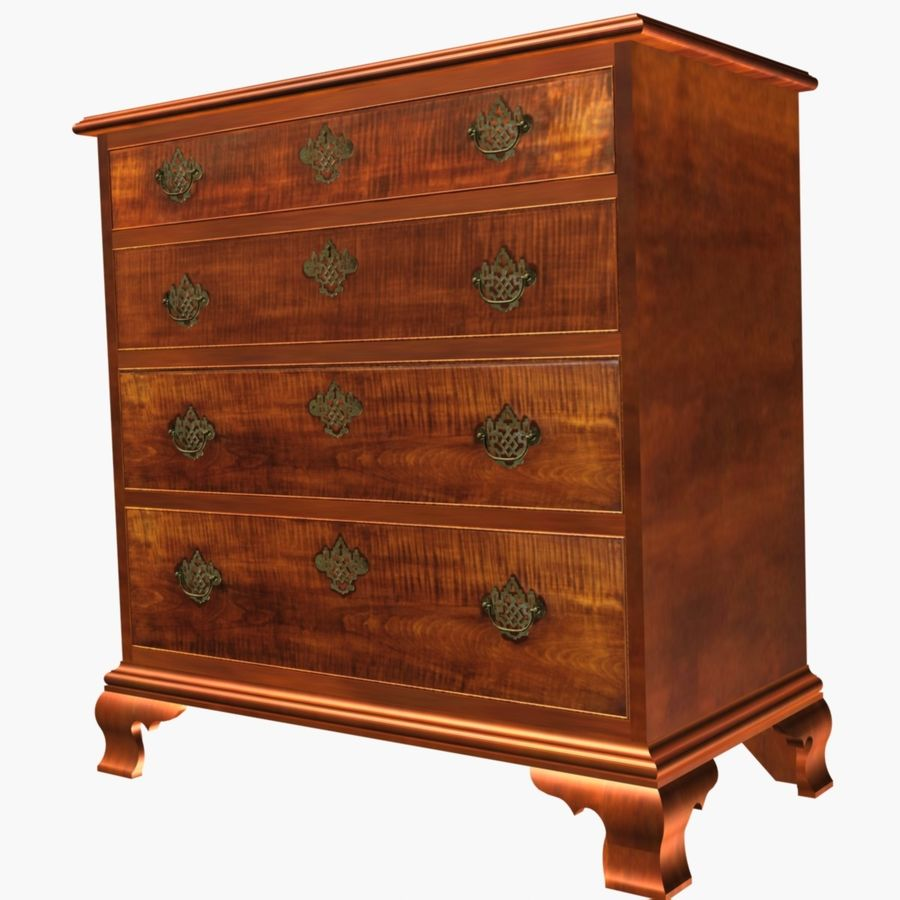 Tiger Maple Chest royalty-free 3d model - Preview no. 4