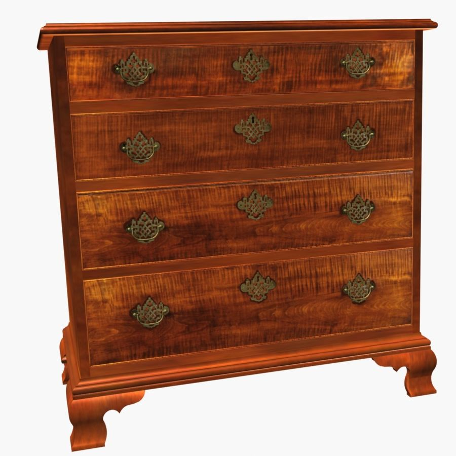Tiger Maple Chest royalty-free 3d model - Preview no. 3