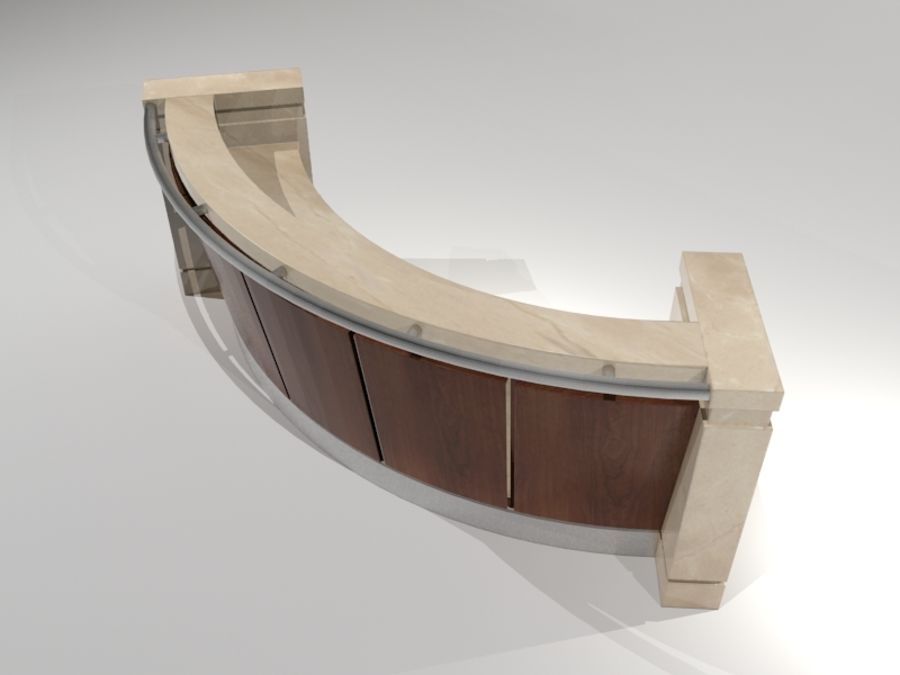 Conceirge Desk02 royalty-free 3d model - Preview no. 3