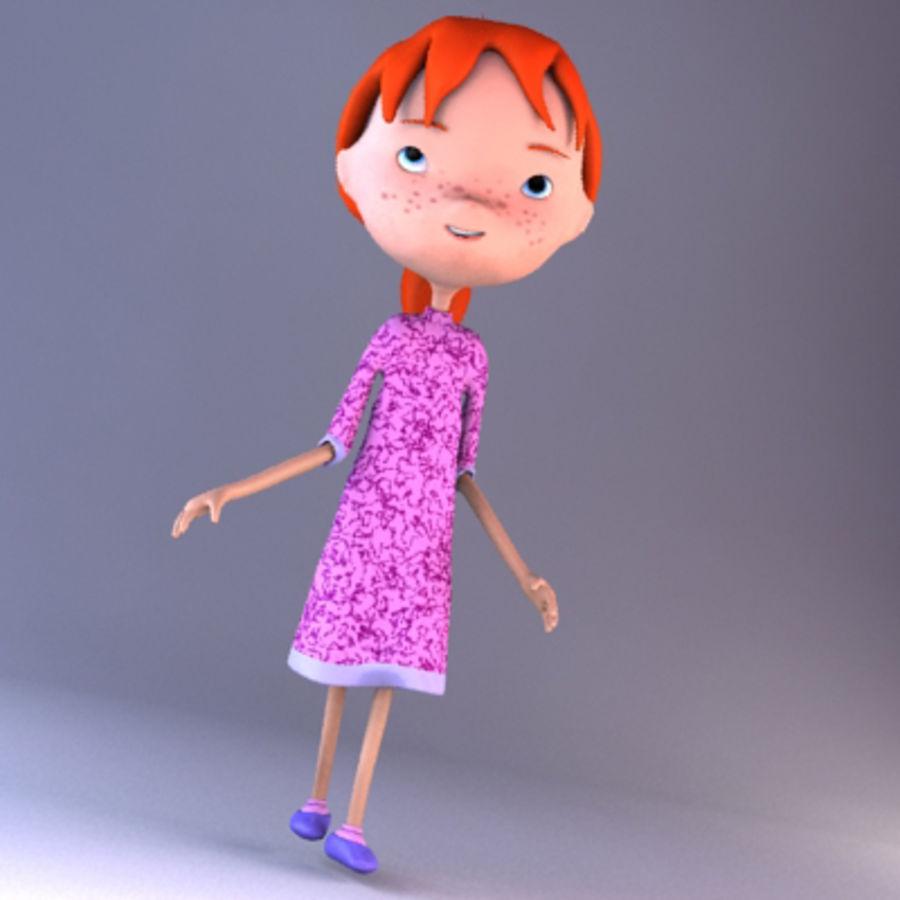 Cartoon girl royalty-free 3d model - Preview no. 13
