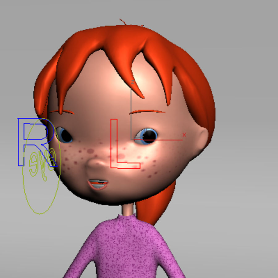 Cartoon girl royalty-free 3d model - Preview no. 9