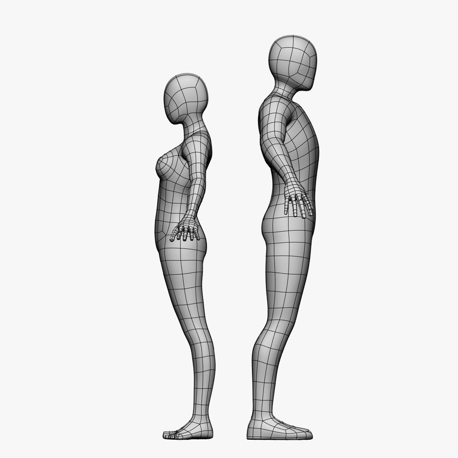 Niedriges Poly-Base-Mesh-Female / Male royalty-free 3d model - Preview no. 4