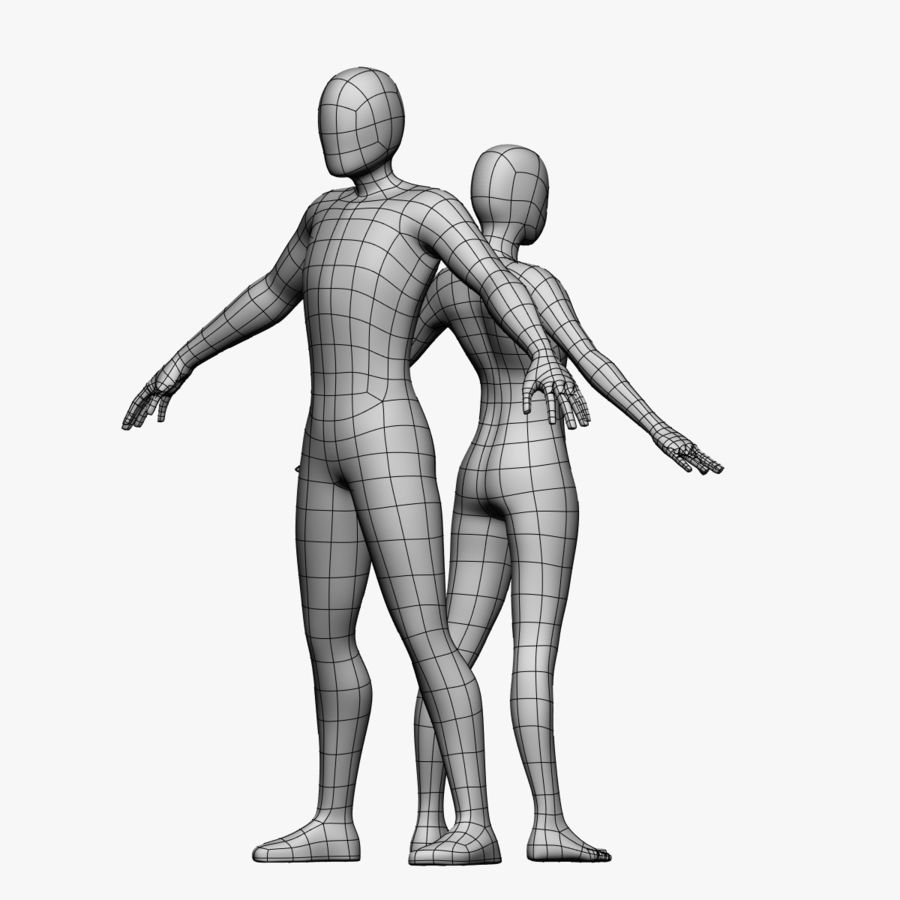 Low Poly Base Mesh-Female/Male royalty-free 3d model - Preview no. 2