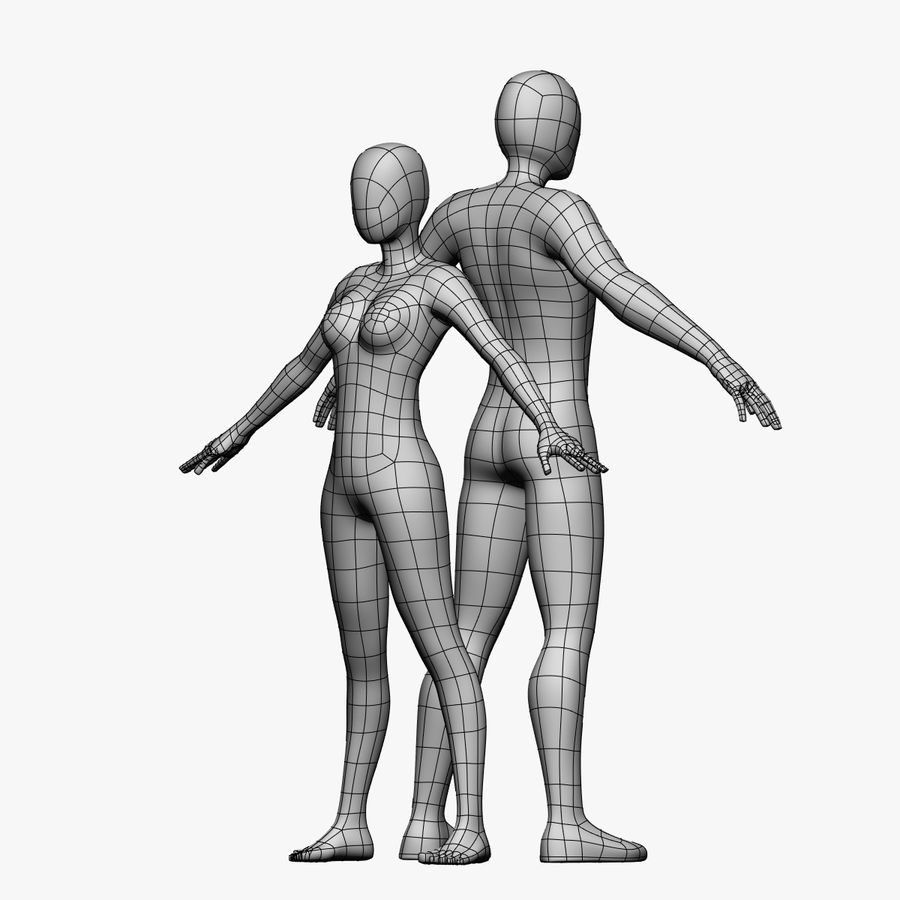 Low Poly Base Mesh-Female/Male royalty-free 3d model - Preview no. 1