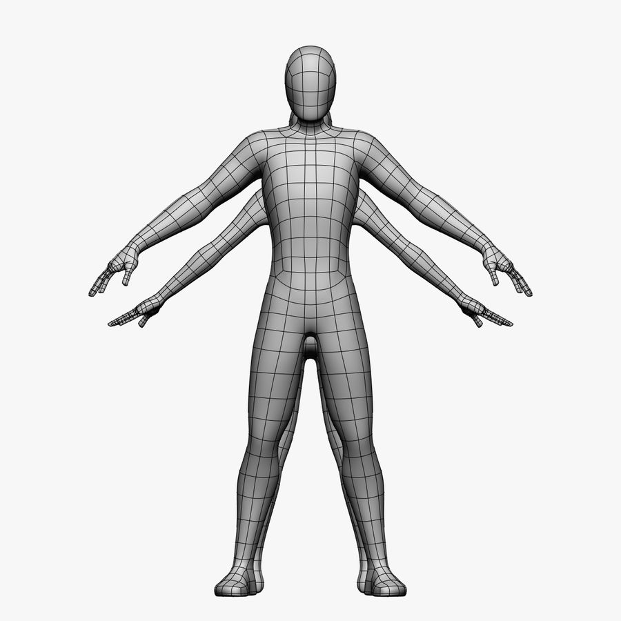 Low Poly Base Mesh-Female/Male royalty-free 3d model - Preview no. 5