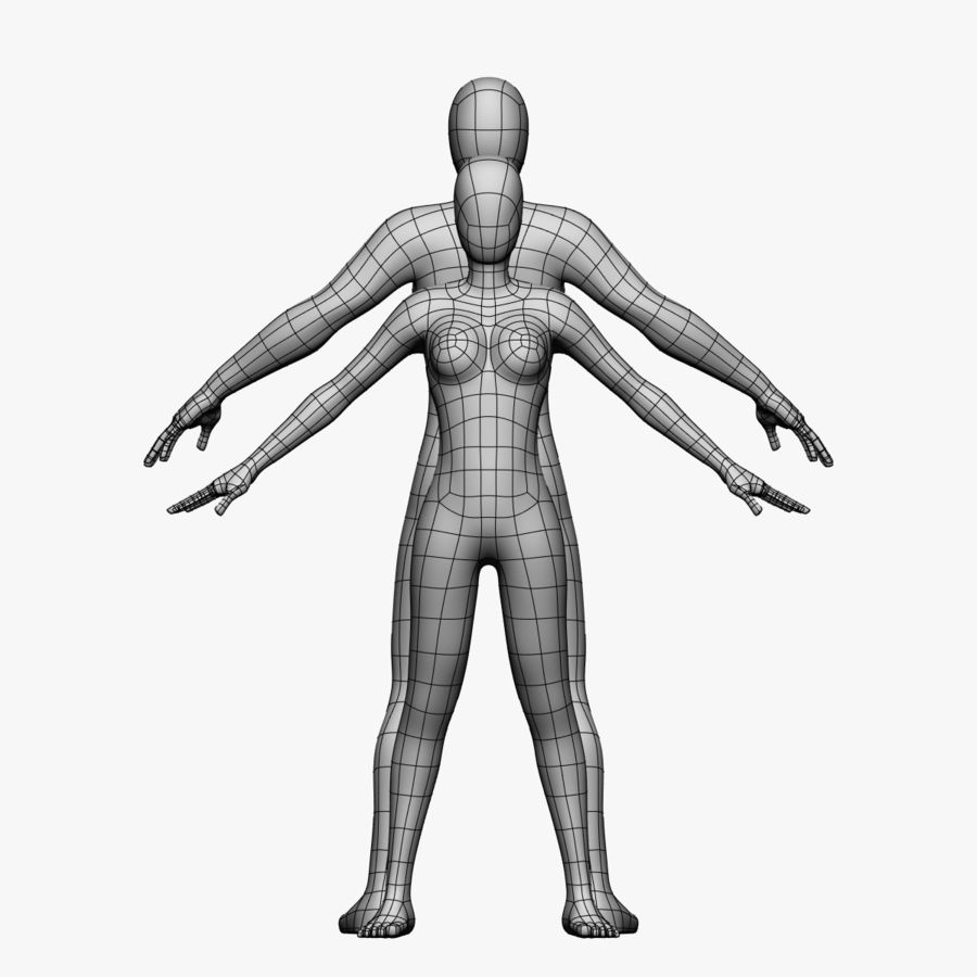 Low Poly Base Mesh-Female/Male royalty-free 3d model - Preview no. 3