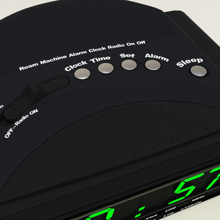 Digital clock radio royalty-free 3d model - Preview no. 8