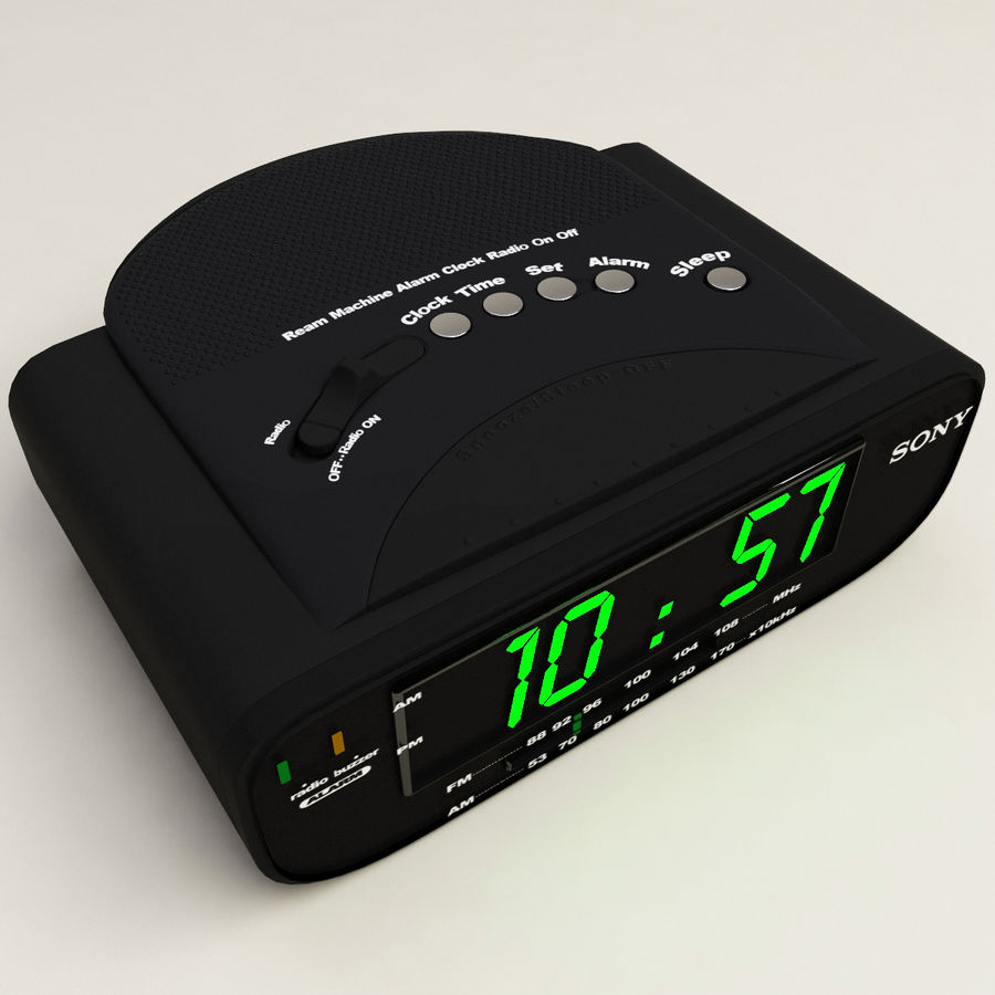 Digital clock radio royalty-free 3d model - Preview no. 2