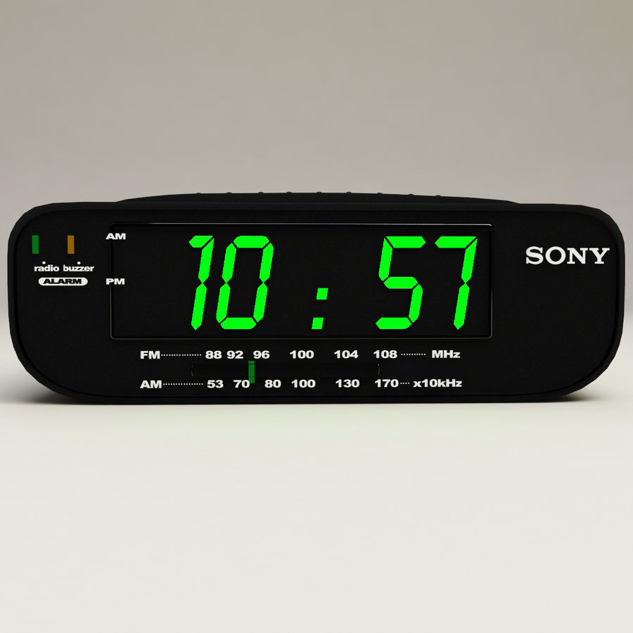 Digital clock radio royalty-free 3d model - Preview no. 3