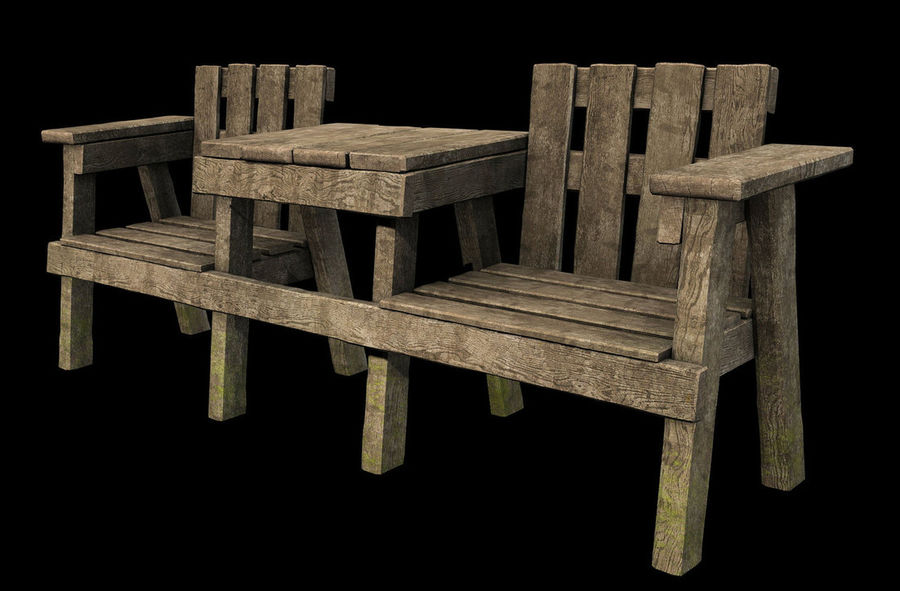 Exterior Wooden Table And Chair Set 3d Model 20 Max