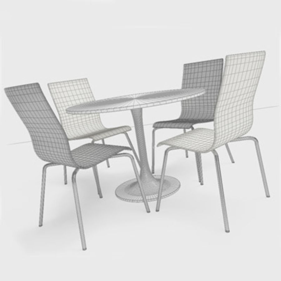 Modern Table & Chairs royalty-free 3d model - Preview no. 2