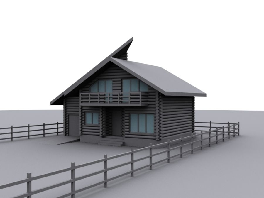 Mountain Chalet royalty-free 3d model - Preview no. 2