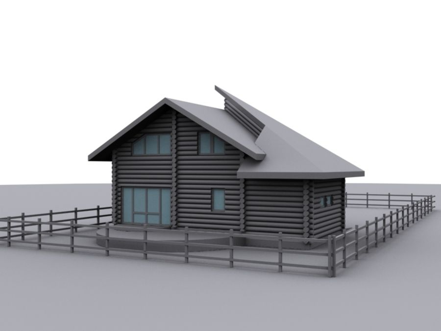 Mountain Chalet royalty-free 3d model - Preview no. 3