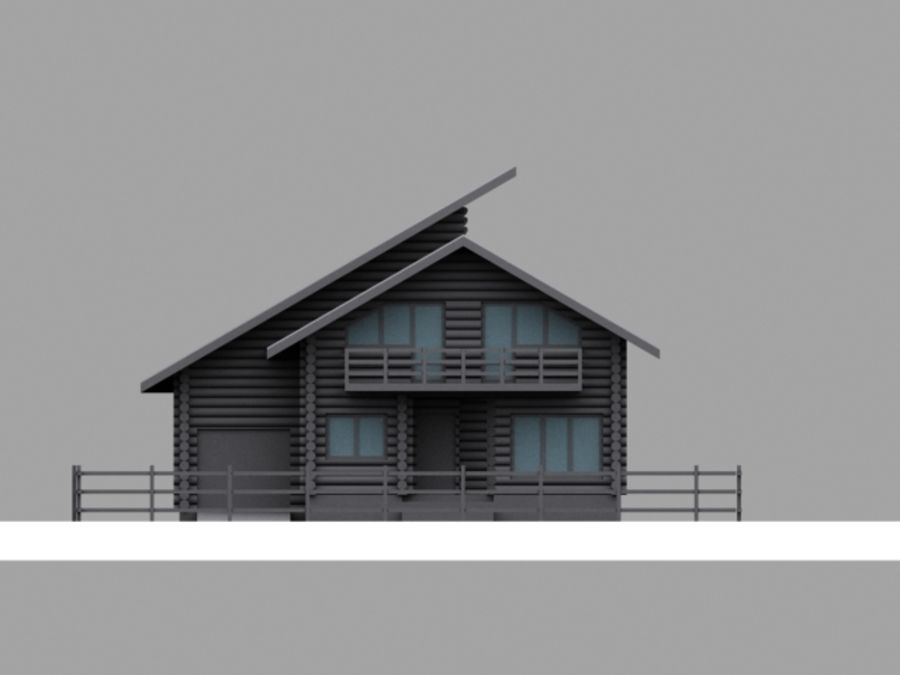 Mountain Chalet royalty-free 3d model - Preview no. 6