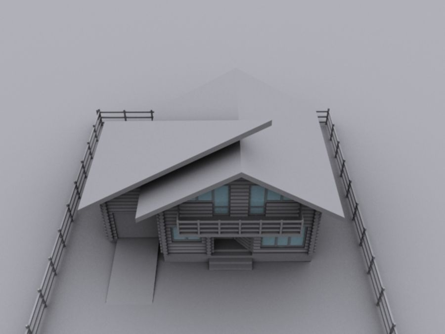 Mountain Chalet royalty-free 3d model - Preview no. 4