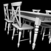 landelijke stijl tafel en stoel 3d model